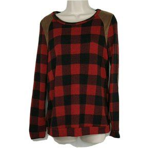 12PM by Mon Ami Buffalo Plaid Top Women Size S Red